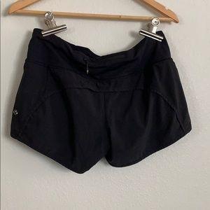 Black lululemon run shorts size 8